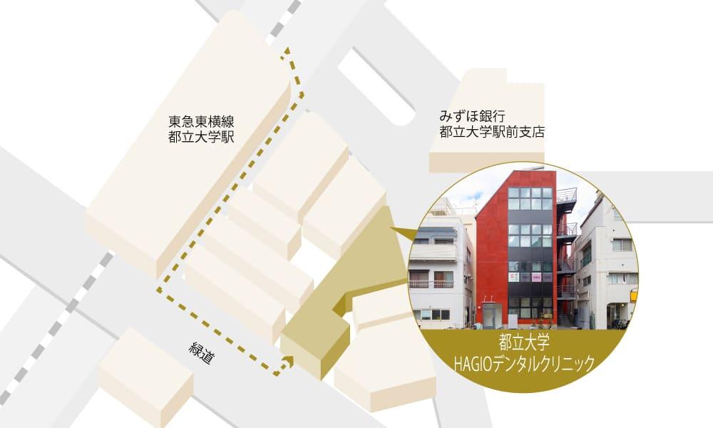 都立大学萩尾歯科クリニックまでの地図